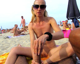 American swingers in the French beach,..